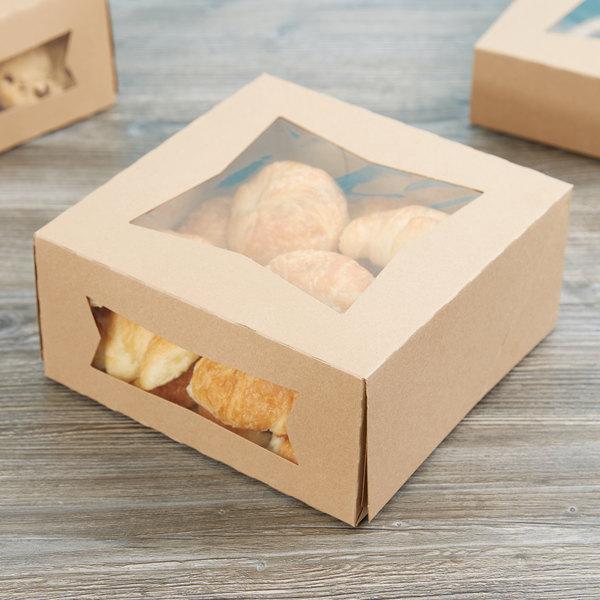 "Baker's Mark 9"" x 9"" x 4"" Kraft Auto-Popup Window Cake / Bakery Box - 150/Case Main Image 6"