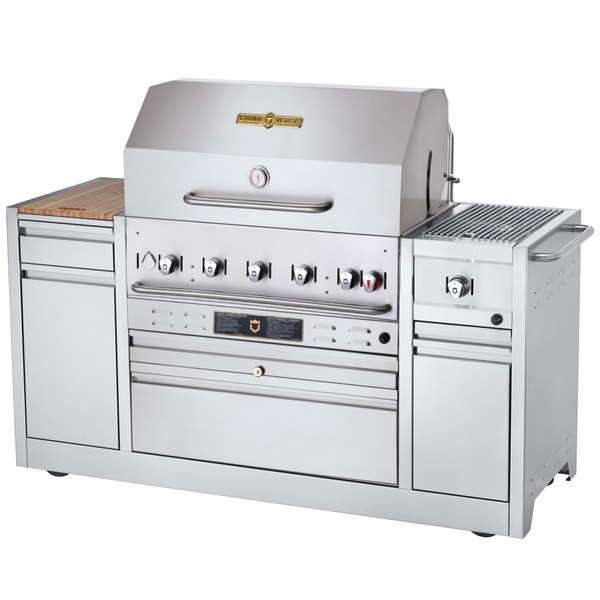 "Crown Verity MBI-36I Liquid Propane Hotel Series 79 1/2"" Grill with Side Burner - 79,500 BTU"
