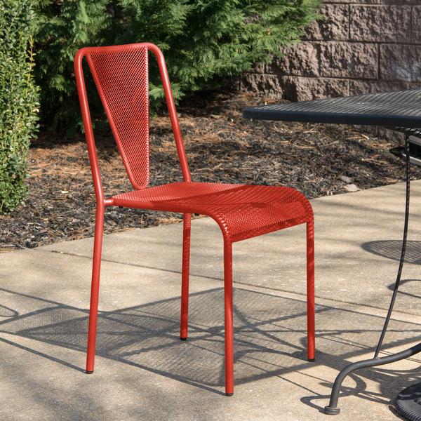 BFM Seating DV455GE Venice Beach Grenadine Stackable Steel Side Chair Main Image 4