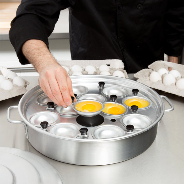 "12 Cup Aluminum Egg Poacher with Lid - 14 1/8"" x 2 1/2"""
