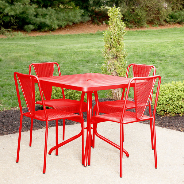 "BFM Seating DVN3636GEU Nexus 36"" Square Grenadine E-Coated Steel Dining Table"
