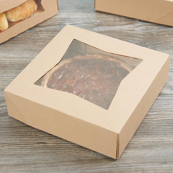 """9"""" x 9"""" x 2 1/2"""" Kraft Auto-Popup Window Pie / Bakery Box - 200/Case"""