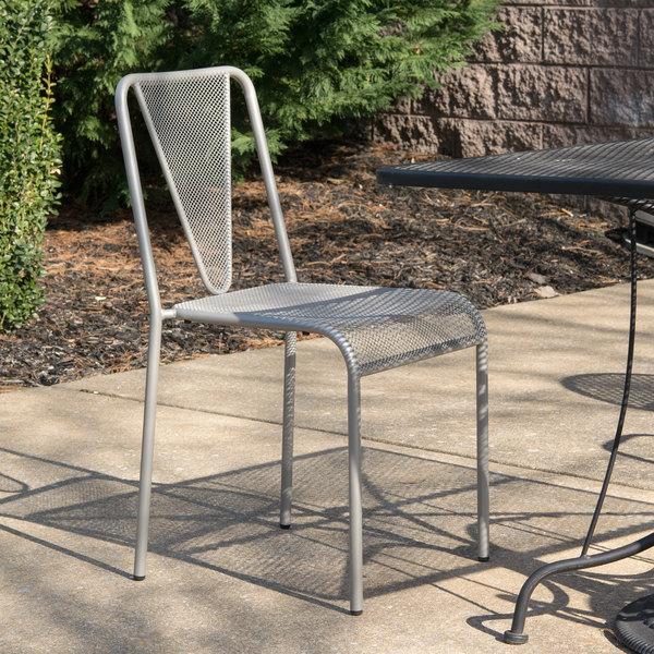 BFM Seating DV455TS Venice Beach Titanium Silver Stackable Steel Side Chair