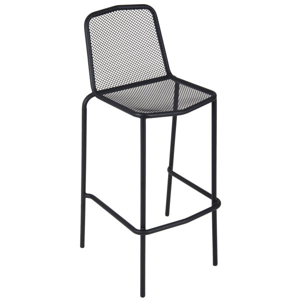 BFM Seating DV554BL Avalon Black Stackable Steel Outdoor / Indoor Bar Height Chair
