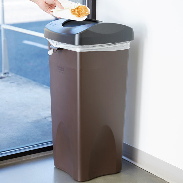 Rubbermaid Untouchable 23 Gallon Brown Square Trash Can and Black Lid