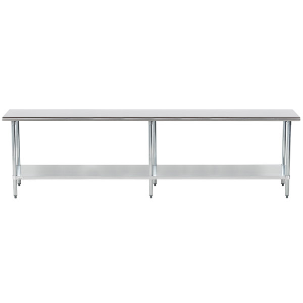 """Advance Tabco GLG-3610 36"""" x 120"""" 14 Gauge Stainless Steel Work Table with Galvanized Undershelf"""