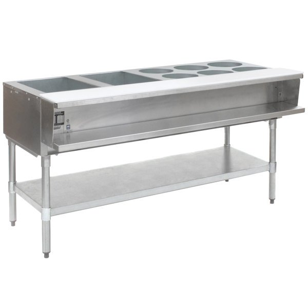 Eagle Group AWT4-1 Liquid Propane Eight Pan Sealed Well Water Bath Steam Table with Galvanized Legs