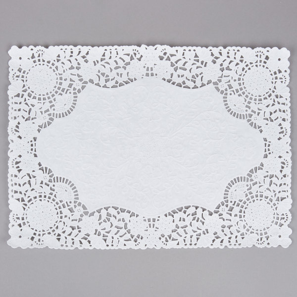 10 inch x 14 inch White Floral Lace Paper Placemat - 1000/Case