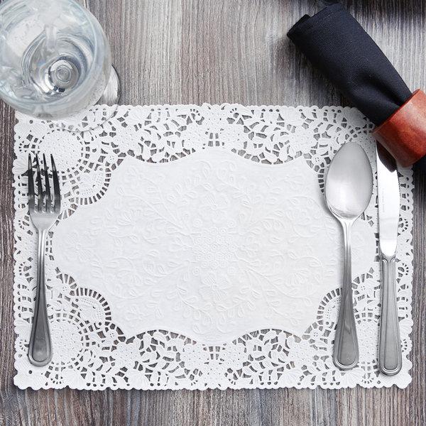 """10"""" x 14"""" White Floral Lace Paper Placemat - 1000/Case"""