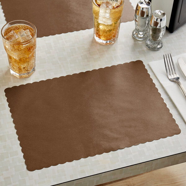 """Choice 10"""" x 14"""" Brown Colored Paper Placemat with Scalloped Edge - 1000/Case Main Image 2"""