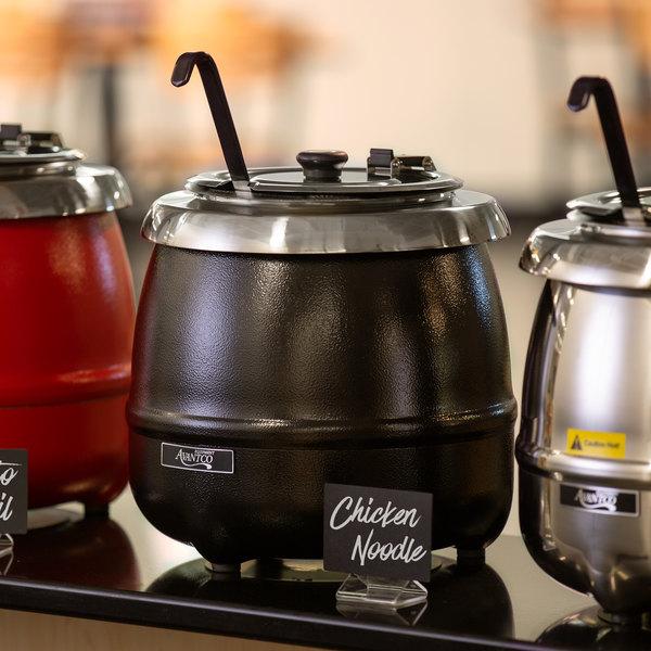 Avantco S30 11 Qt. Round Black Countertop Food / Soup Kettle Warmer - 120V, 400W Main Image 6