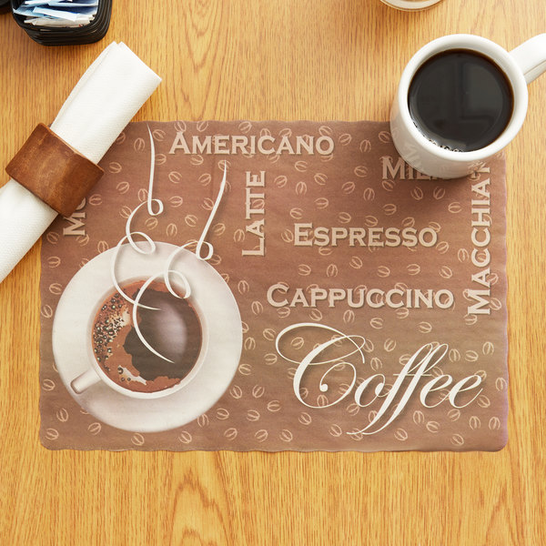 "10"" x 14"" Coffee Themed Paper Placemat with Scalloped Edge - 1000/Case"