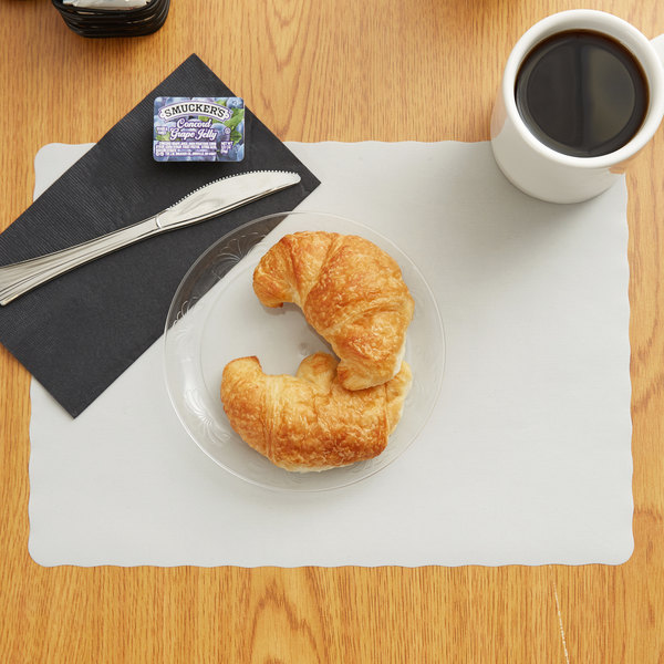"""10"""" x 14"""" Gray Colored Paper Placemat with Scalloped Edge - 1000/Case"""