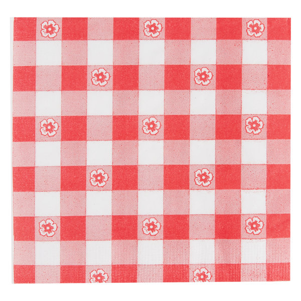 Choice 10 inch x 10 inch Red Gingham 2-Ply Beverage / Cocktail Napkin - 1000/Case