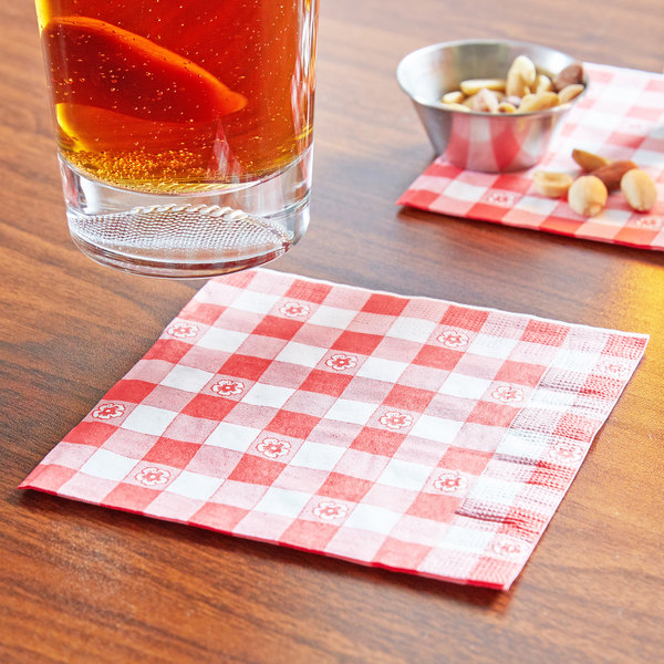 """Choice 10"""" x 10"""" Red Gingham 2-Ply Beverage / Cocktail Napkin - 1000/Case"""