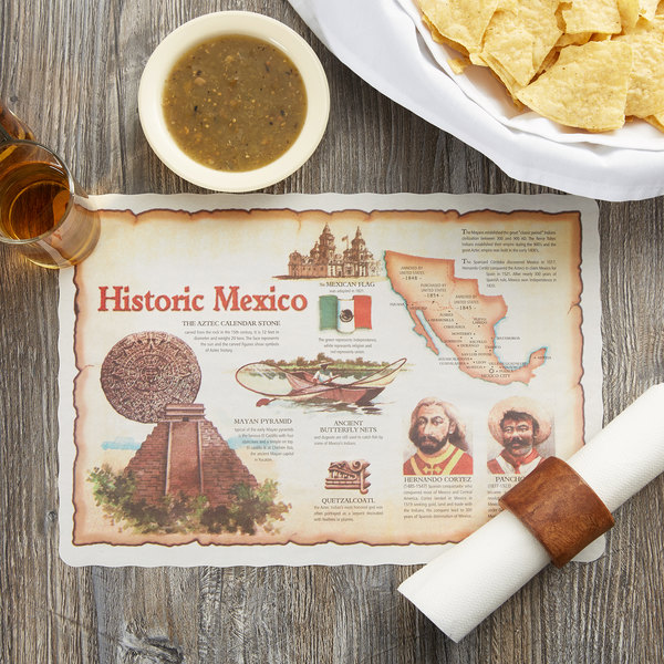 "10"" x 14"" Historic Mexico Paper Placemat with Scalloped Edge - 1000/Case"