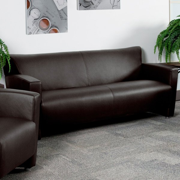 Flash Furniture 222-3-BN-GG Hercules Majesty Brown Leather Sofa with Aluminum Feet