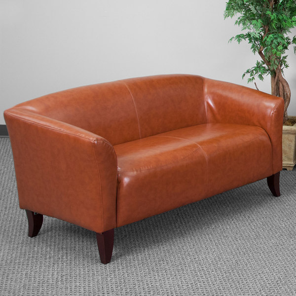 Flash Furniture 111-2-CG-GG Hercules Imperial Cognac Leather Loveseat with Wooden Feet Main Image 4