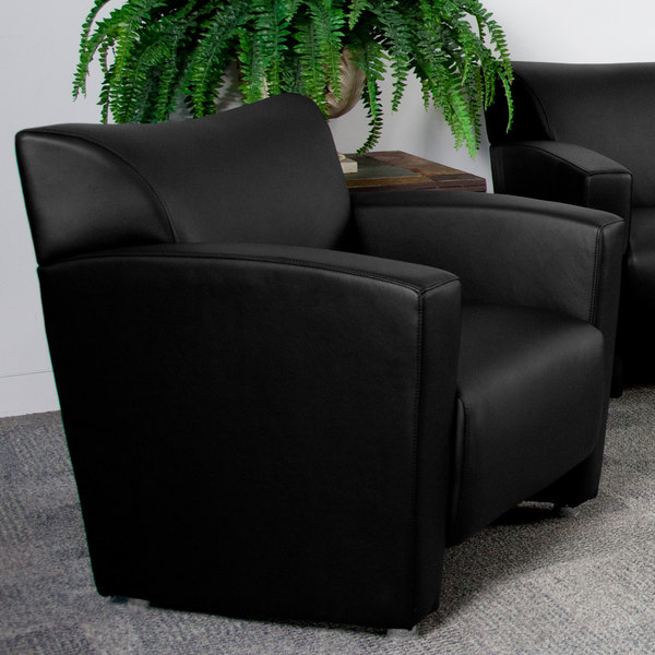 Flash Furniture 222-1-BK-GG Hercules Majesty Black Leather Chair with Aluminum Feet Main Image 3