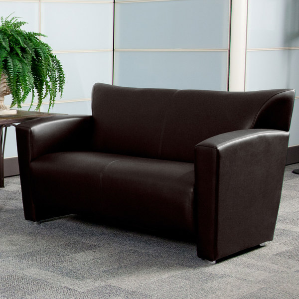 Flash Furniture 222-2-BN-GG Hercules Majesty Brown Leather Loveseat with Aluminum Feet Main Image 3