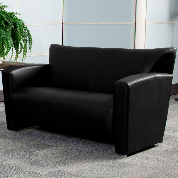 Flash Furniture 222-2-BK-GG Hercules Majesty Black Leather Loveseat with Aluminum Feet