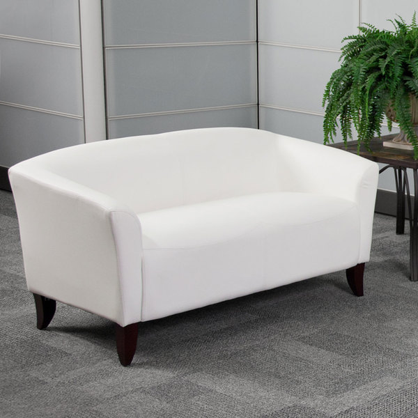 Flash Furniture 111-2-WH-GG Hercules Imperial White Leather Loveseat with Wooden Feet Main Image 3