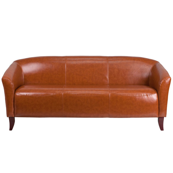 Flash Furniture 111-3-CG-GG Hercules Imperial Cognac Leather Sofa with Wooden Feet Main Image 1