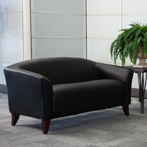 Flash Furniture 111-2-BK-GG Hercules Imperial Black Leather Loveseat with Wooden Feet Main Image 3