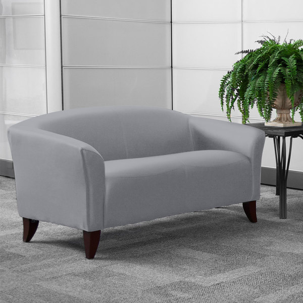Flash Furniture 111-2-GY-GG Hercules Imperial Gray Leather Loveseat with Wooden Feet Main Image 2