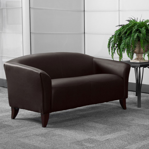 Flash Furniture 111-2-BN-GG Hercules Imperial Brown Leather Loveseat with Wooden Feet Main Image 3