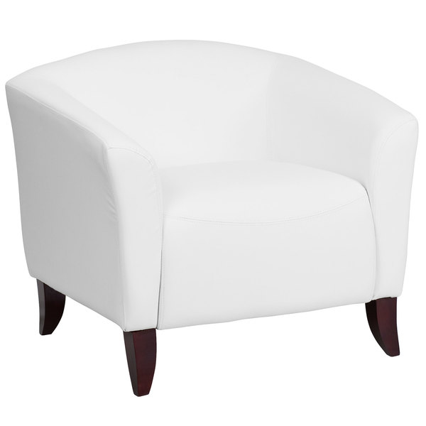Flash Furniture 111-1-WH-GG Hercules Imperial White Leather Chair with Wooden Feet