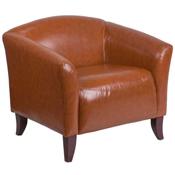Flash Furniture 111-1-CG-GG Hercules Imperial Cognac Leather Chair with Wooden Feet