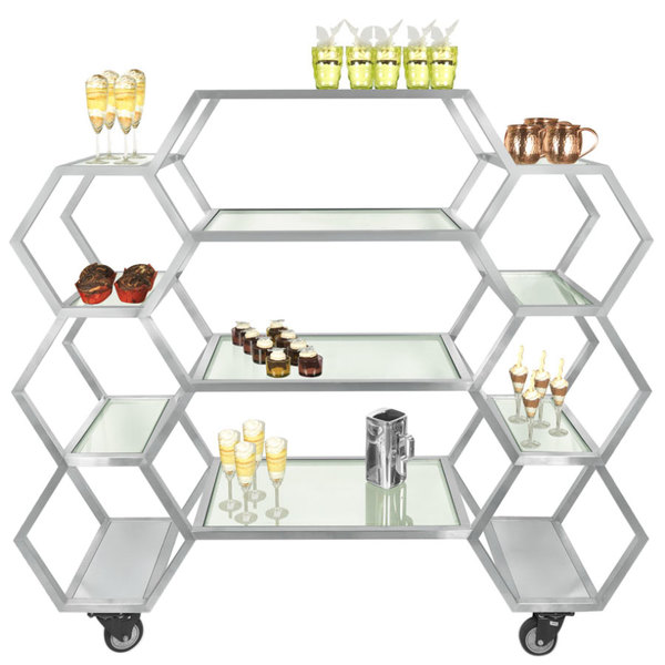 """Eastern Tabletop ST1730 63"""" x 17 3/4"""" x 60"""" Honeycomb Stainless Steel Rolling Buffet with Clear Tempered Glass Shelves"""