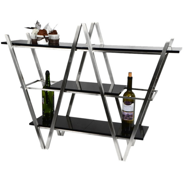Eastern Tabletop Ac1775bk 35 X 11 29 1 2 Stainless Steel 3 Tier W Display Stand With Black Acrylic Shelves