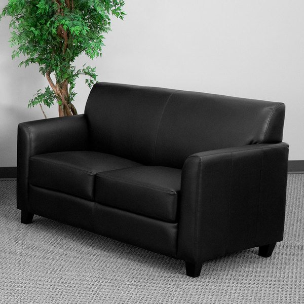 Flash Furniture BT-827-2-BK-GG Hercules Diplomat Black Leather Loveseat with Wooden Feet