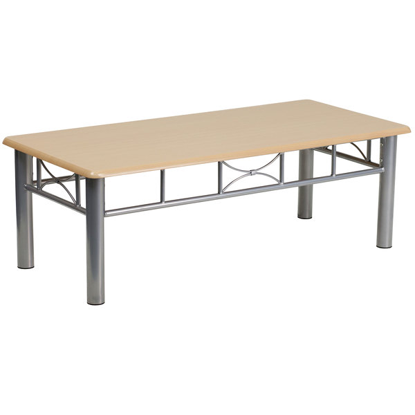 """Flash Furniture JB-6-COF-NAT-GG 21"""" x 45 3/4"""" Silver Steel Coffee Table with Natural Laminate Top"""