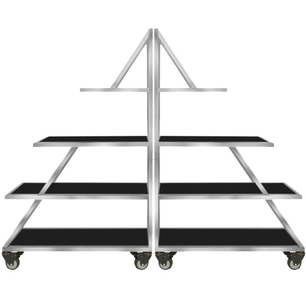 """Eastern Tabletop AC1725BK 82 1/2"""" x 14"""" x 64"""" Triangle Stainless Steel Rolling Buffet Set with Black Acrylic Shelves"""