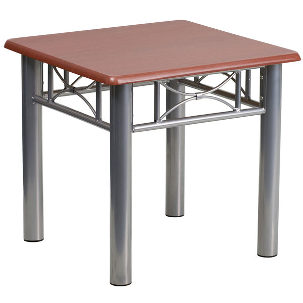 """Flash Furniture JB-5-END-MAH-GG 21"""" Square Silver Steel End Table with Mahogany Laminate Top"""