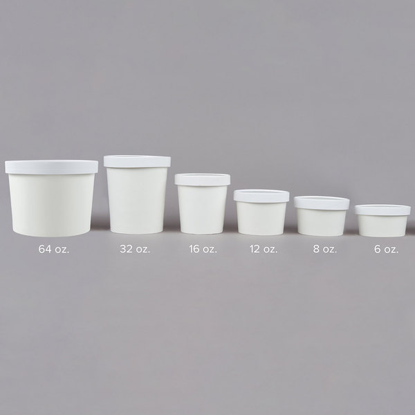 Choice 64 Oz Double Poly Coated White Paper Food Cup With Vented Paper Lid 25 Pack