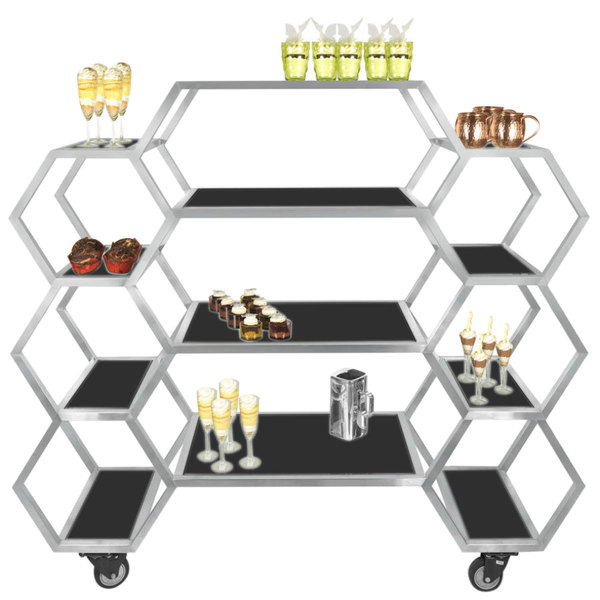 """Eastern Tabletop AC1730BK 63"""" x 17 3/4"""" x 60"""" Honeycomb Stainless Steel Rolling Buffet with Black Acrylic Shelves"""