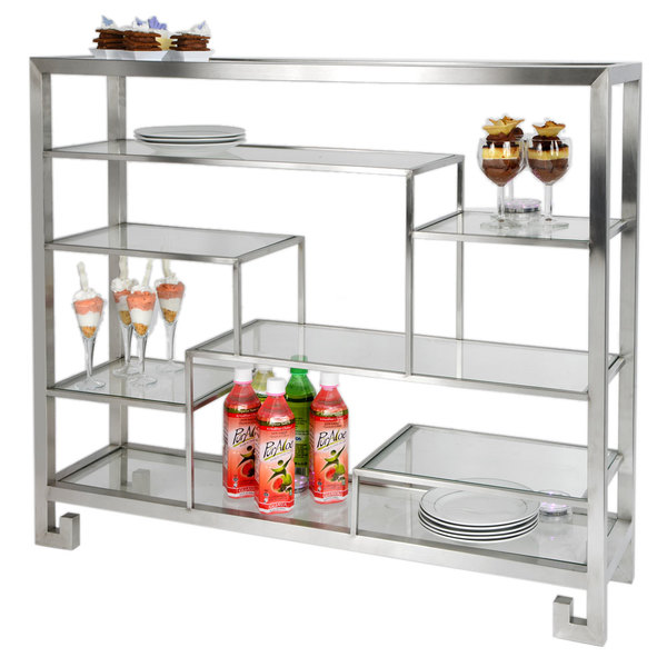 """Eastern Tabletop ST1765 38 3/8"""" x 9 7/8"""" x 31 1/2"""" Stainless Steel Multi-Level Square Tabletop Display Stand with Clear Glass Tempered Shelves"""