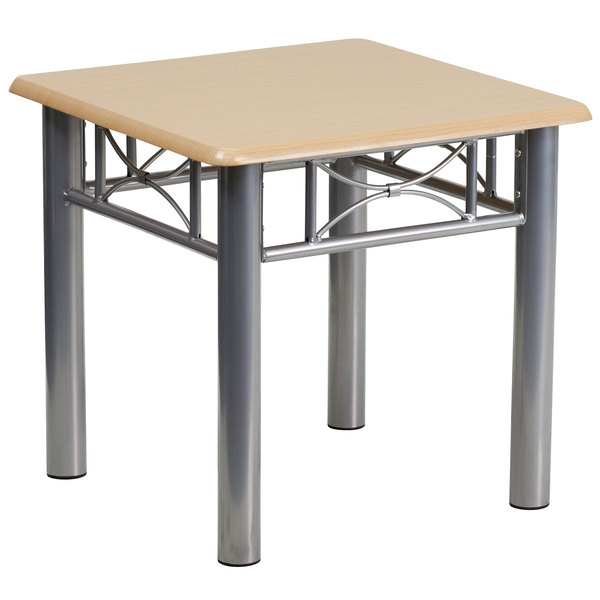 """Flash Furniture JB-6-END-NAT-GG 21"""" Square Silver Steel End Table with Natural Laminate Top"""