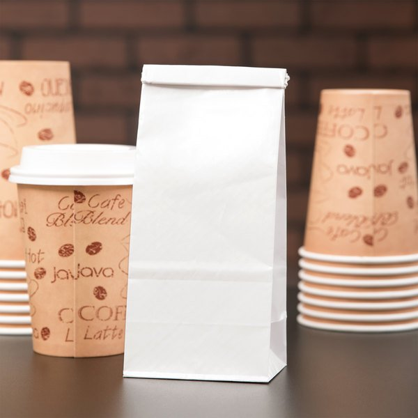 1/2 lb. White Customizable Paper Coffee Bag with Reclosable Tin Tie - 1000/Case