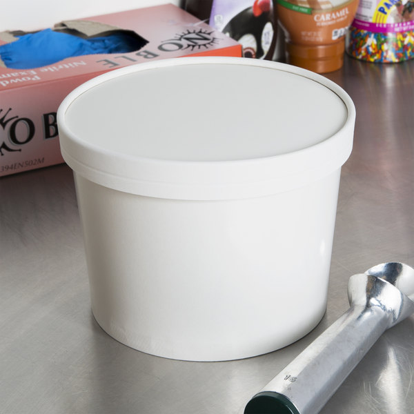 Choice 1 2 Gallon White Paper Ice Cream Container With Lid 100 Case