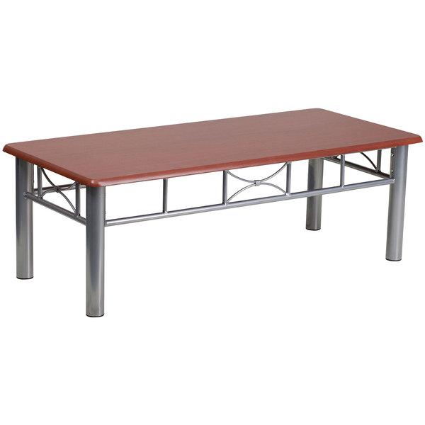 "Flash Furniture JB-5-COF-MAH-GG 21"" x 45 3/4"" Silver Steel Coffee Table with Mahogany Laminate Top"