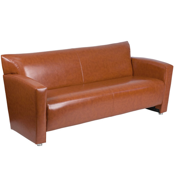 Flash Furniture 222 3 CG GG Hercules Majesty Cognac Leather Sofa With  Aluminum Feet