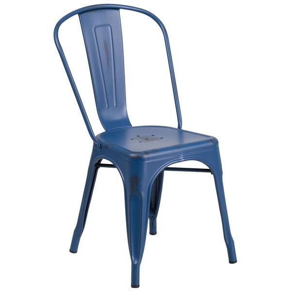 Flash Furniture ET-3534-AB-GG Distressed Antique Blue Stackable Metal Chair with Vertical Slat Back and Drain Hole Main Image 1