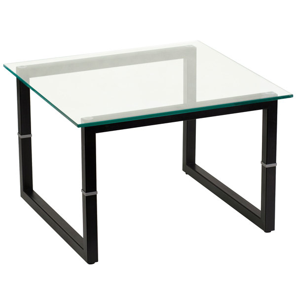 """Flash Furniture FD-END-TBL-GG 23 5/8"""" Square Black Metal End Table with Glass Top Main Image 1"""