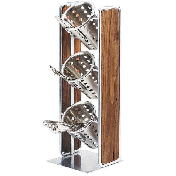 """Cal-Mil 3715-49 Mid-Century 3 Compartment Vertical Wooden Organizer with Chrome Accents - 6 1/2"""" x 6 1/2"""" x 19 1/2"""""""