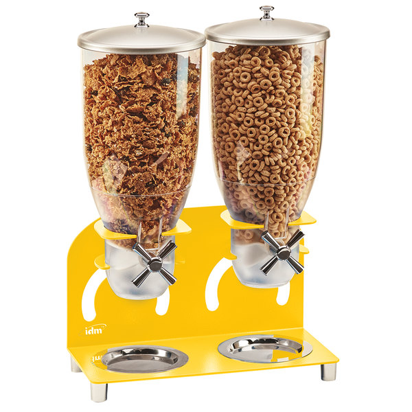 """Cal-Mil 3510-2-42 7 Liter Yellow Double Canister Cereal Dispenser - 12 1/4"""" x 6"""" x 18 1/2"""" Main Image 1"""